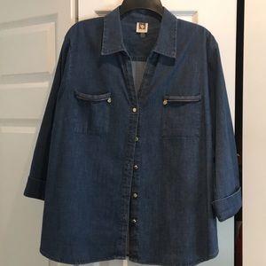 Anne Klein denim blouse like new